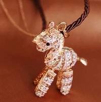 Free shipping new necklace Korean version of the childhood small trojan horse necklace long crystal zebra sweater chain jewelry