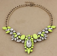 Minimum Order $20 (mixed order)  fashion glass crystal advanced synthetic gem yellow necklace
