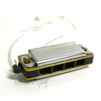 Harmonica Necklace Jewelry Pendant Silver mini 4 hole
