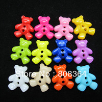 Free Shipping 100 Pcs Random Mixed Bear 2 Holes Acrylic Sewing Buttons Scrapbooking 17x14mm(W02455 X 1)