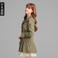 2013 autumn trench slim medium-long long-sleeve trench outerwear female 0161