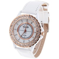 New 2013 Fashion vintage unisex watches dial 12 rhinestone dial time black and white unisex strap watch  Relogio