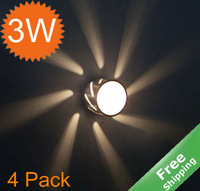 LED decorative wall light+Aluminum finished+3 watt+4pcs/lot + Free shipping