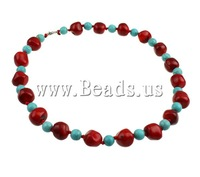 Free shipping!!!Coral Necklace,Inspirational, Natural Coral, with Natural Turquoise, brass lobster clasp, two-tone, 14mm