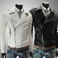 Free shipping 2014 personality zipper male slim large lapel short design leather clothing,men's long sleeve zipper coat  leather