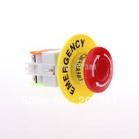 Free shipping 1 PCS Red Mushroom Cap 1NO 1NC DPST Emergency Stop Push Button Switch AC 660V 10A~