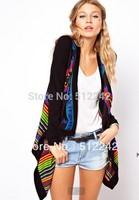 2014 spring autumn winter fashion lady irregular hem leisure loose hit color black knitted cardigan tops free shipping xhf