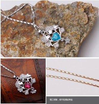 free shipping _ 925 Sterling Silver Popular jewelry Austria Crystal   Necklace - sp4662-79