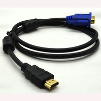 High quality HDMI to VGA adapter Cable 1M gold connect adapter MALE-MALE free shipping