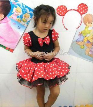 Girl Minnie Mouse Pary Fancy Costume Ballet Tutu Dress+Ear 2-10Y Kids Gift