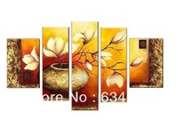 Free Shipping Hot Sell Modern Wall Painting white Flowers Home Decorative Art Picture Paint on Canvas Prints 5 panel canvas art