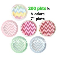 200 pkt x free shipping , Partyware Boutique  7inch Assorted round Disposable Zig Zag chevron party Cake Dessert Plates Dishes