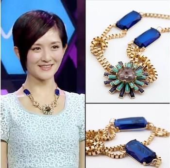 Fashion handMade Retro Trendy Women Flower Crystal Tone pendant False collar Chokers Bib Necklace Lady's SM782