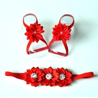 Trial Order Baby Barefoot Sandals with Satin Flower and Matching thin Elastic Headband  20set/lot QueenBaby
