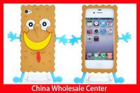 Cute Cartoon Spongebob Silicone Case Cover For iPhone 4 4S 50PCS/lot Wholesale