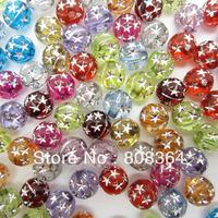 Free Shipping 200 Pcs Random Mixed Acrylic Spacer Beads Bright Star Round 8mm Dia.(W02489 X 1)