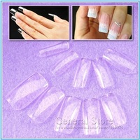 New Approx 500pcs Fashion Full Cover False Nail Clear Acrylic Nail Art Tips DIY Design Free Shipping GT174