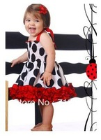 2393 New arrival 5 pcs/lot Free shipping baby girl summer tutu braces sundress black dot one-piece dress children Clothing