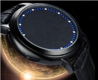 2013 New Designer Famous Blue Led Touch Screen Leather Watch Wholesale Sport Mens Watches Brands Best gift free shipping