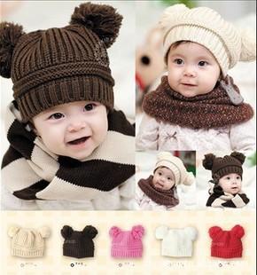 1PC Korean Baby Dual Plush Ball Cartoon Designs Wool Handmade Children Crochet Hat Free Shipping(China (Mainland))