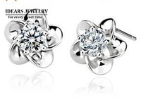 2013 new design 925 pure silver jewelry 925 crystal zircon pure silver stud earring female uy-e021