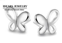 2013 new design 925 pure silver female accessories 925 butterfly anti-allergic pure silver stud earring female uy-e023