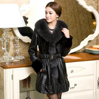 free shipping Anti season oversized fox fight mink fur real leather overcoat medium-long women's fur overcoat