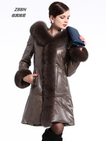 Autumn and winter leather clothing fox tie cap medium-long real leather sheepskin overcoat thermal women's slim leather coat