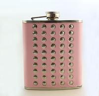 1PCS 70Z Pink Leather Rivet Stainless Steel Flagon Liquor Flask Wine Pot ,free shipping