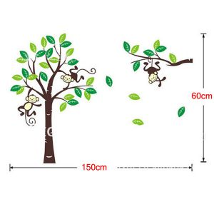 C5Y wall sticker Custom Personalised Name Monkey Tree Wall Art Stickers Kids Nursery Vinyl Decals