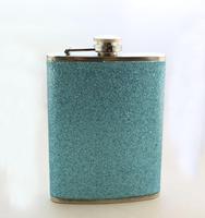 1PCS 80Z Glitter Blue Stainless Steel Flagon Liquor Flask Wine Pot ,free shipping