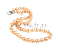 Free shipping!!!Natural Freshwater Pearl Necklace,Wholesale Jewelry, Cultured Freshwater Pearl, brass clasp, Round, natural