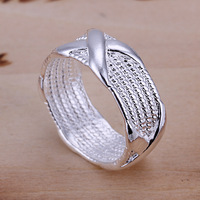 """Free shipping lowest price wholesale for women/men's 925 silver ring 925 silver fashion jewelry """"X"""" Ring SR066"""