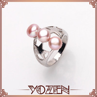 7-8mm natural pink color pearl wedding band ring