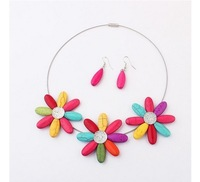 Sunflower candy color oval beads necklace earring set