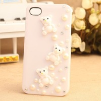Hot sell Ice Cream case 3D bling Pearl Lovely Bear Hard Case For iPhone 5 5G , 20pcs/lot by hk post