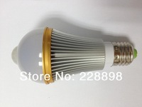 New 6W E27 85-260V LED Infrared Motion Sensor White Light Bulb Lamp Motion Led Bulb with Retail Packing 5pcs/lot Free Shipping