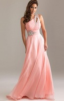 Free Shipping ! Cheap Price ! In Stock ! 2014 New One Shoulder Beading Crystal Floor Length Chiffon Pink Evening Dresses OL330