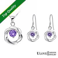 Beautiful flower Jewelry Sets 925 Sterling Silver Full CZ Zircon New Arrival Fashion Purple Crystal  For Women Free Shipping