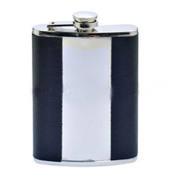 1PCS 90Z Silver Vertical Black Leather Stainless Steel Hip Flask Wine Pot  ,free shipping