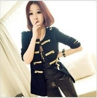 2013 autumn and winter women fashion casual gold buckle yarn cardigan small short outerwear overcoat coat