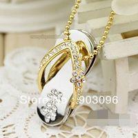 Crystal USB Flash Drive 2GB 4GB 8GB 16GB 32GB Gold ewelry Slippers Girls USB Free Shipping Necklace