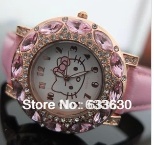 Factory direct sale price 1PCS Hot Sale New Fashion Big Diamond hello kitty watch lady girl kid leather quart watch,have stock(China (Mainland))