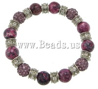 Free shipping!!!Rain Flower Stone Bracelet,for Jewelry, with rhinestone pave bead & Elastic Thread & Brass