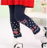 girls fashion navy blue red cotton leggings, kids girl fashion cherry fall autumn legging new arrvial clothes 2013