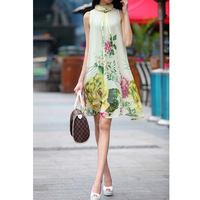 2013 women's spring and summer autumn sleeveless elegant sweet one-piece dress loose print midguts
