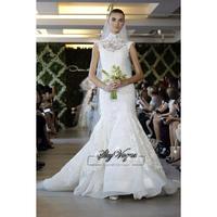 13W038 Ruched Mermaid Organza High Neck Court Train Gorgeous Luxury Unique Brilliant Bridal Wedding Dress Free Shipping