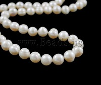 Free shipping!!!Natural Freshwater Pearl Necklace,Womens Jewelry, Cultured Freshwater Pearl, Potato, natural, white, 9-10mm