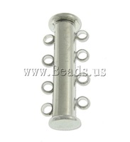 Free shipping!!!Brass Slide Lock Clasp,high fashion, with Magnetic Hematite, platinum color plated, 4-strand, nickel