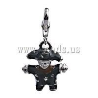 Free shipping!!!Zinc Alloy Lobster Clasp Charm,Birthday Gift, Boy, enamel, black, nickel, lead & cadmium free, 33x18x6mm